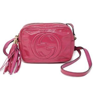 Gucci Disco Camera Leather Fuchsia Crossbody Bag